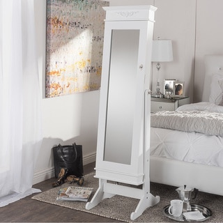 Vickers Contemporary White Floor Standing Wooden Mirror Jewelry Cabinet