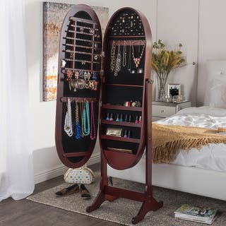 Vess Contemporary Brown Floor Standing Oval Wooden Mirror Jewelry Cabinet https://ak1.ostkcdn.com/images/products/10362540/P17470203.jpg?impolicy=medium