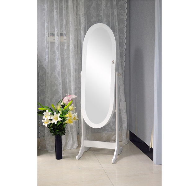 Vess Contemporary White Floor Standing Oval Wooden Mirror