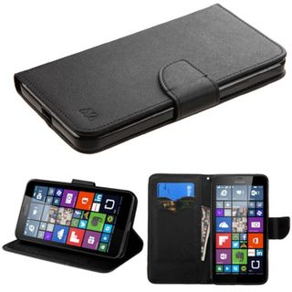 Insten Black Leather Phone Case Cover with Stand/ Wallet Flap Pouch For Microsoft Lumia 640 XL