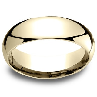 18k Yellow Gold Men's 6mm Comfort Fit Wedding Band - 18K Yellow Gold