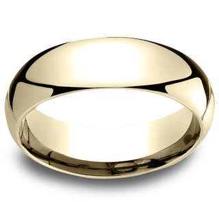 18k Yellow Gold Men's 6mm Comfort-Fit Wedding Band