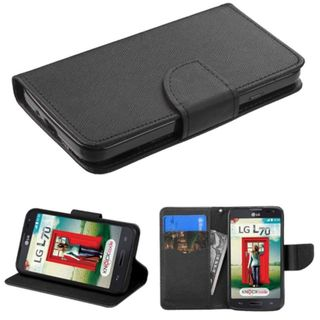 Insten Black Leather Phone Case Cover with Stand/ Wallet Flap Pouch For LG Optimus Exceed 2 VS450PP Verizon/ Optimus L70 / Realm