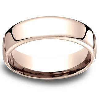 14k Rose Gold Men's Low-dome 6.5mm Comfort-Fit Wedding Band - 14K Rose Gold