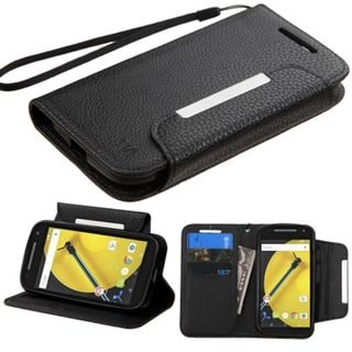 Insten Slim Leather Wallet Flap Pouch Phone Case Cover with Stand/ Lanyard For Motorola Moto E 2nd Gen