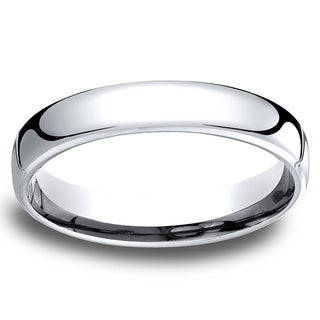14k White Gold Low-dome 4.5mm Comfort-Fit Wedding Band - 14K White Gold
