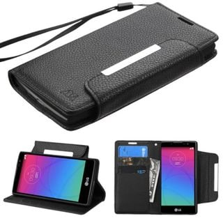 Insten Black Leather Phone Case Cover Lanyard with Stand/ Wallet Flap Pouch For LG Escape 2/ Logos/ Spirit 4G