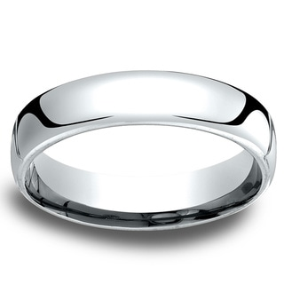 14k White Gold Men's Low-dome 5.5mm Comfort-Fit Wedding Band