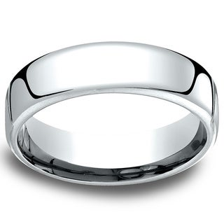 14k White Gold Low-dome 6.5mm Comfort-Fit Wedding Band