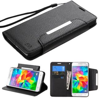 Insten Black Leather Phone Case Cover Lanyard with Stand/ Wallet Flap Pouch For Samsung Galaxy Grand Prime