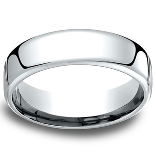 14k White Gold Men's Low-dome 6.5mm Comfort Fit Wedding Band