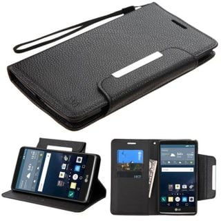 Insten Black Leather Phone Case Cover Lanyard with Stand/ Wallet Flap Pouch For LG G Stylo