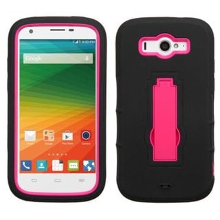 Insten Symbiosis Soft Soft Silicone/ PC Dual Layer Hybrid Rubber Phone Case Cover with Stand For ZTE Imperial II