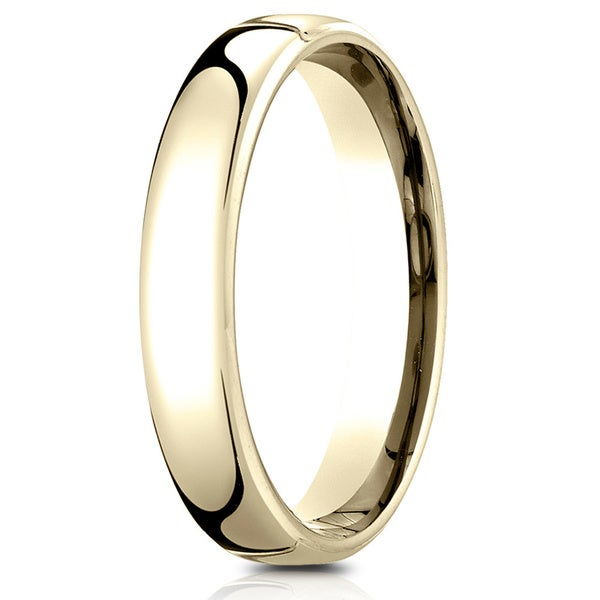 Sizes 4-15 Benchmark 14K Yellow Gold 3mm Slightly Domed Standard Comfort-Fit Wedding Band Ring