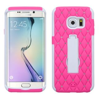 Insten Symbiosis Soft Soft Silicone/ PC Dual Layer Hybrid Rubber Phone Case Cover with Stand For Samsung Galaxy S6 Edge