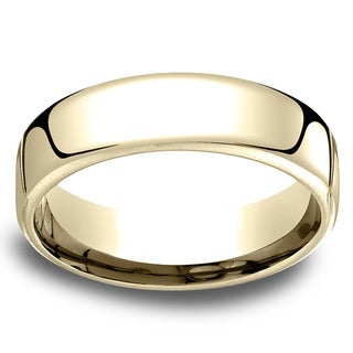 14k Yellow Gold Men's Low-dome 6.5mm Comfort-Fit Wedding Band