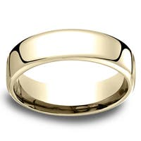 14k Yellow Gold Men's Low-dome 6.5mm Comfort-Fit Wedding Band - 14k Yellow Gold