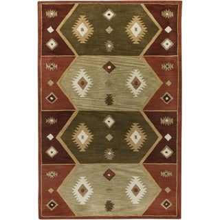 Rizzy Home Southwest Collection Hand-tufted Geometric Wool Rust/ Tan Rug (9' x 12')