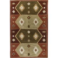 Rizzy Home Southwest Collection Hand-tufted Geometric Wool Rust/ Tan Rug - 9' x 12'