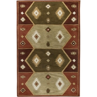 Rizzy Home Southwest Collection Hand-tufted Geometric Wool Rust/ Tan Rug (8' x 10')