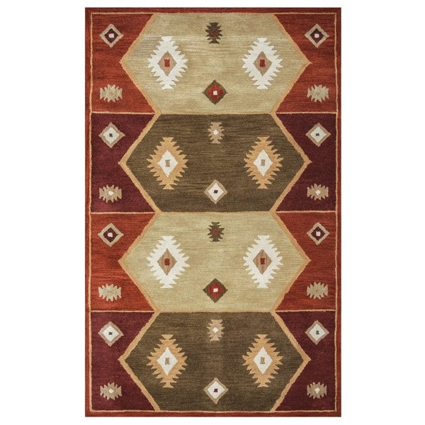 Rizzy Home Southwest Collection Hand-tufted Geometric Wool Rust/ Tan Rug (5' x 8')