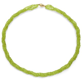 DaVonna 14k Yellow Gold Green Peridot 3-row Twisted Necklace (3-4 mm)