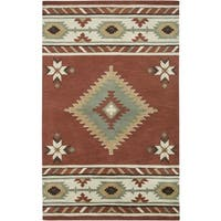 Rizzy Home Southwest Collection Hand-tufted Geometric Wool Red/ White Rug (8' x 10')