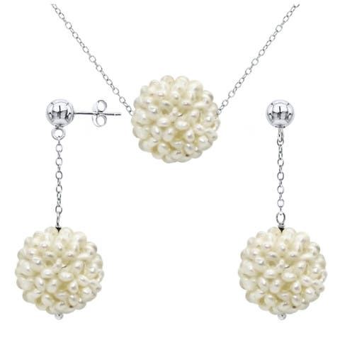 DaVonna Sterling Silver White Snow Ball Freshwater Pearl Pendant Necklace and Stud Earrings Jewelry Set