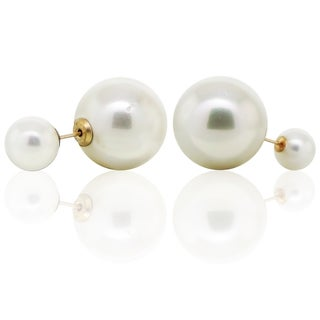 DaVonna 14k Yellow Gold Round Shell Pearl Front and Back Stud Earring