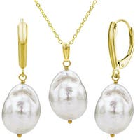DaVonna Gold over Sterling Silver White Baroque Freshwater Pearl Jewelry set