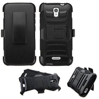 Insten Black Hard PC/ Silicone Dual Layer Hybrid Phone Case Cover with Holster For Alcatel One Touch Pop Astro