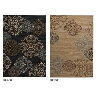 Rizzy Home Carrington Collection Power-loomed Abstract Black/ Beige Rug (5'3 x 7'7)