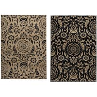 Rizzy Home Carrington Collection Power-loomed Trellis Design Black/ Beige Rug - 7'10 x 10'10