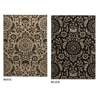Rizzy Home Carrington Collection Power-loomed Trellis Black/ Beige Rug (6'7 x 9'6)