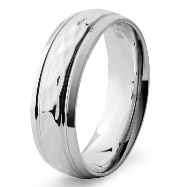 Men's Stainless Steel Groove Hammered Ring