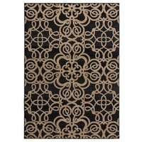 Rizzy Home Carrington Collection Power-loomed Trellis Black Rug (5'3 x 7'7)