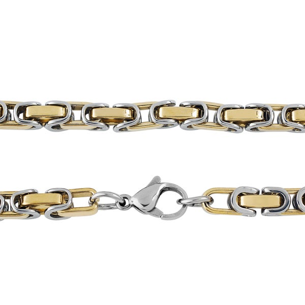 Crucible Stainless Steel Byzantine Chain Necklace (5mm) - 24 Inches - 24 inch