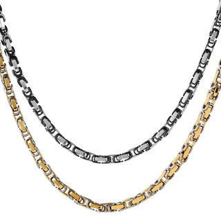 Men's Stainless Steel Two-tone 5 mm Byzantine 24-inch Chain Necklace