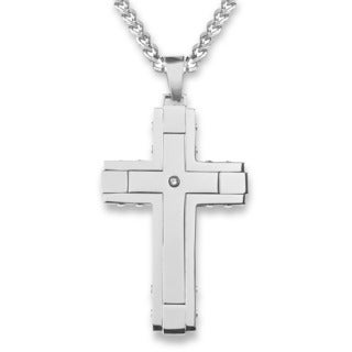 Crucible Stainless Steel Outlined with Cubic Zirconia Cross Pendant