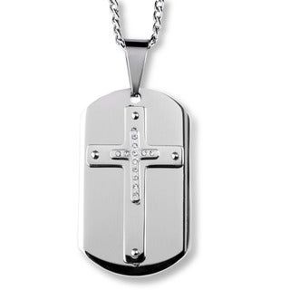 Men's Stainless Steel and Crystal Triple Layer Cross Dog Tag Pendant