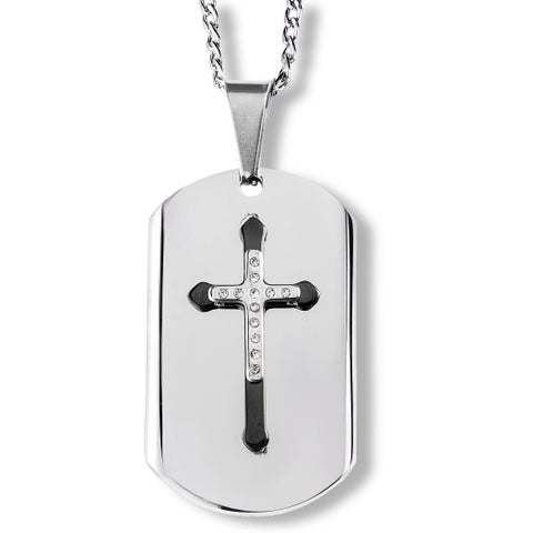 Men's Blackplated Stainless Steel and Crystal Layer Cross Dog Tag Pendant