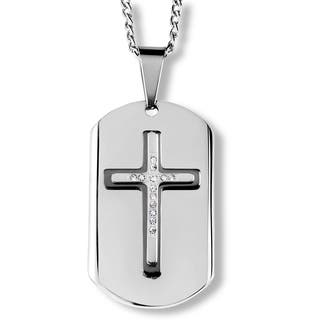 Men's Two-Tone Stainless Steel Triple Layer Crystal Cross Dog Tag Pendant (Option: Yellow)|https://ak1.ostkcdn.com/images/products/10362744/P17470298.jpg?impolicy=medium