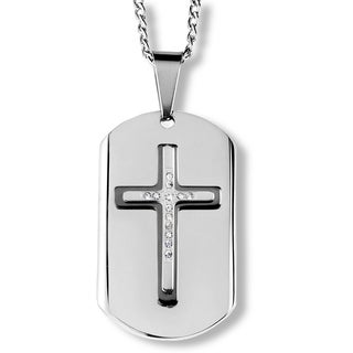 Men's Two-Tone Stainless Steel Triple Layer Crystal Cross Dog Tag Pendant