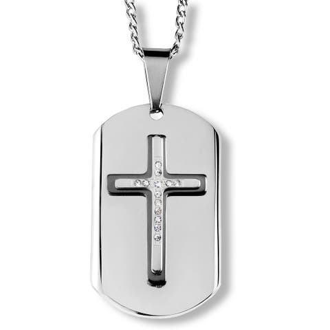 Two-Tone Stainless Steel Triple Layer Cross Dog Tag Pendant