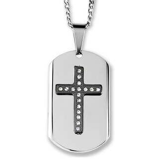 Men's Two-Tone Stainless Steel Crystal Layer Cross Dog Tag Pendant (Option: Black - White/Black/Two-Tone)