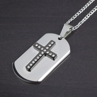 Men's Two-Tone Stainless Steel Crystal Layer Cross Dog Tag Pendant