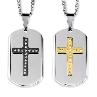 Men's Two-Tone Stainless Steel Crystal Layer Cross Dog Tag Pendant (2 options available)