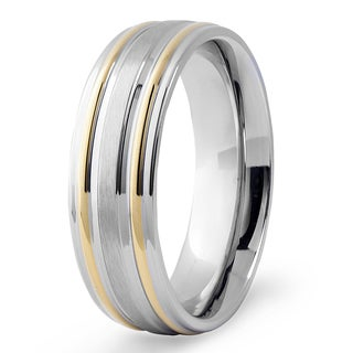 Men's Two-Tone Stainless Steel Grooved Ring - White