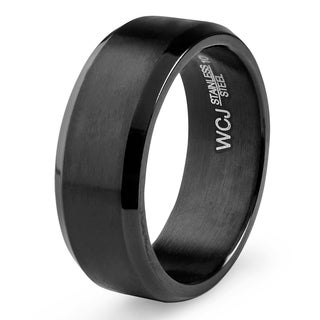 Men's Black Plated Satin and High Polished Stainless Steel Ring (8mm)