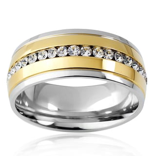 Crucible Men's Two-tone Stainless Steel Cubic Zirconia Eternity Band